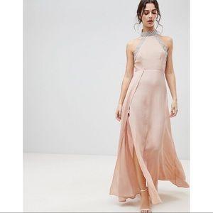 High Neck Beaded Long Formal Dress